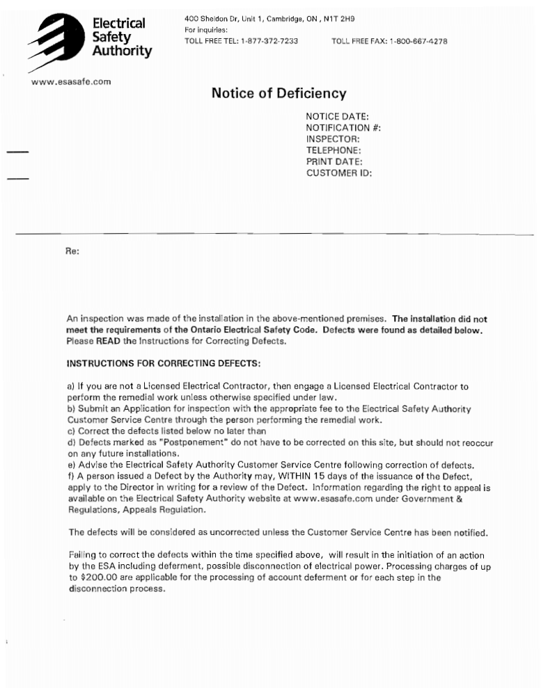 What should I do with an ESA List of Deficiencies? - The Shock Doctors